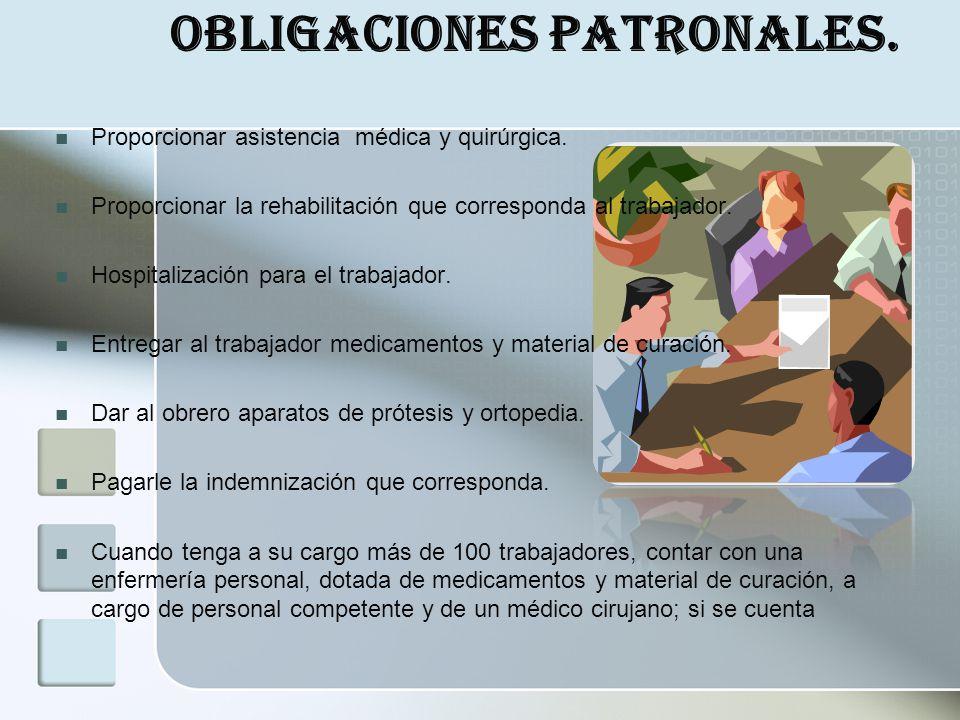 Obligaciones Patronales. Proporcionar asistencia médica y quirúrgica. Proporcionar la rehabilitación que corresponda al trabajador. Hospitalización pa