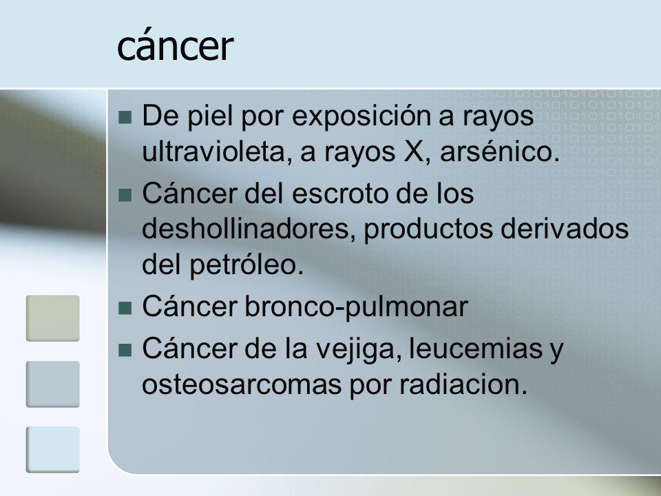 cáncer De piel por exposición a rayos ultravioleta, a rayos X, arsénico. Cáncer del escroto de los deshollinadores, productos derivados del petróleo.