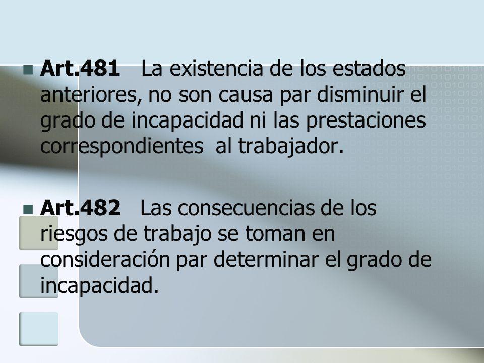 Art.481 La existencia de los estados anteriores, no son causa par disminuir el grado de incapacidad ni las prestaciones correspondientes al trabajador