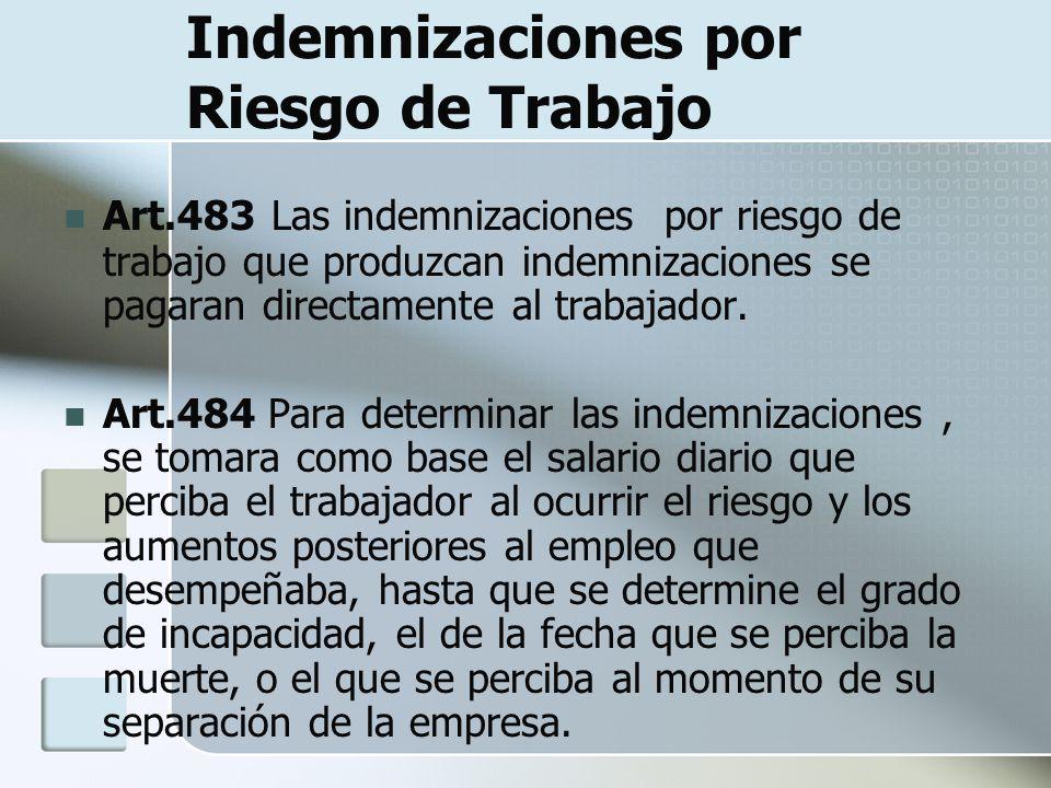 Indemnizaciones por Riesgo de Trabajo Art.483 Las indemnizaciones por riesgo de trabajo que produzcan indemnizaciones se pagaran directamente al traba