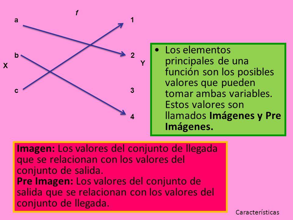 Los elementos principales de una función son los posibles valores que pueden tomar ambas variables. Estos valores son llamados Imágenes y Pre Imágenes