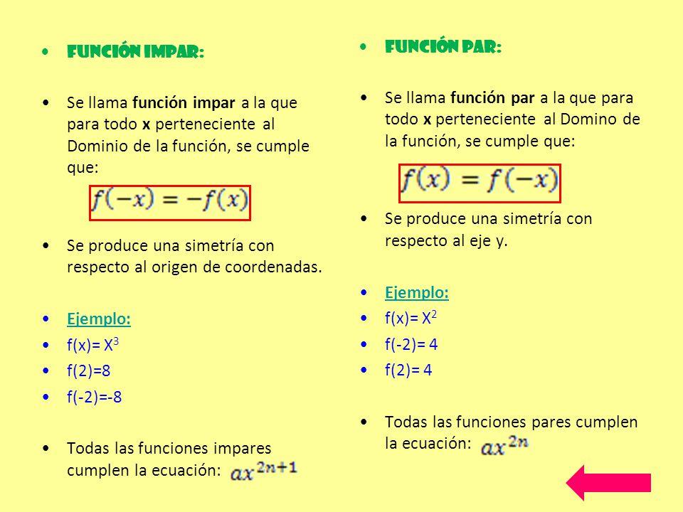 Función Impar: Se llama función impar a la que para todo x perteneciente al Dominio de la función, se cumple que: Se produce una simetría con respecto