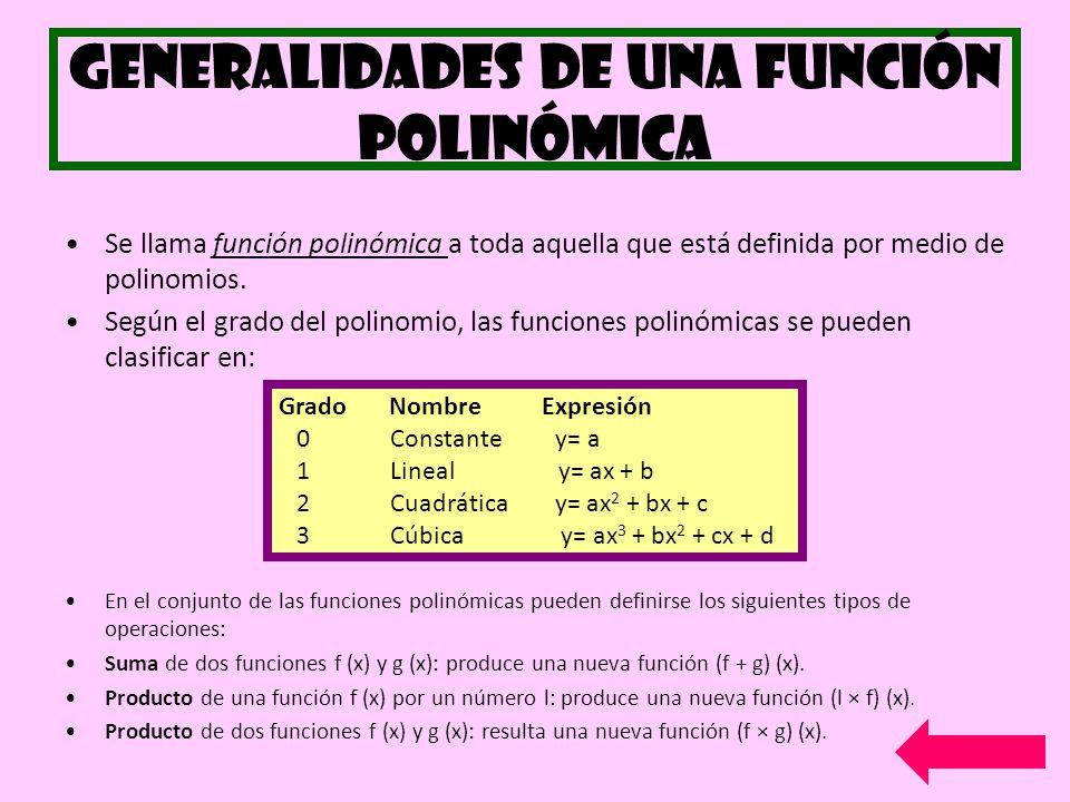 Generalidades de una función polinómica Se llama función polinómica a toda aquella que está definida por medio de polinomios. Según el grado del polin