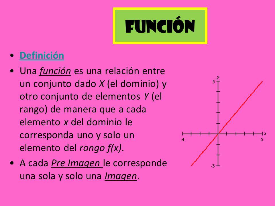 Función Definición Una función es una relación entre un conjunto dado X (el dominio) y otro conjunto de elementos Y (el rango) de manera que a cada el
