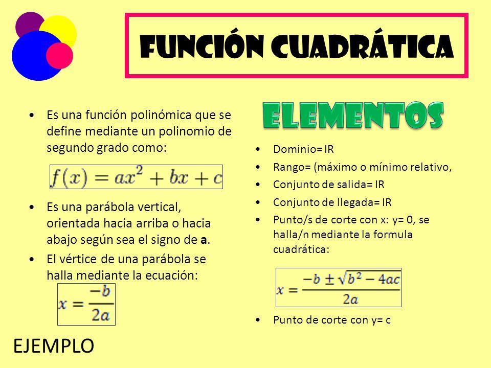 Función Cuadrática Es una función polinómica que se define mediante un polinomio de segundo grado como: Es una parábola vertical, orientada hacia arri