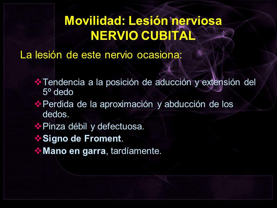 La lesión de este nervio ocasiona: Tendencia a la posición de aducción y extensión del 5º dedo Tendencia a la posición de aducción y extensión del 5º