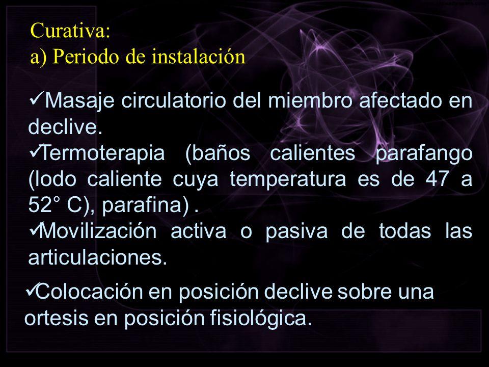 Curativa: a) Periodo de instalación Masaje circulatorio del miembro afectado en declive. Termoterapia (baños calientes parafango (lodo caliente cuya t