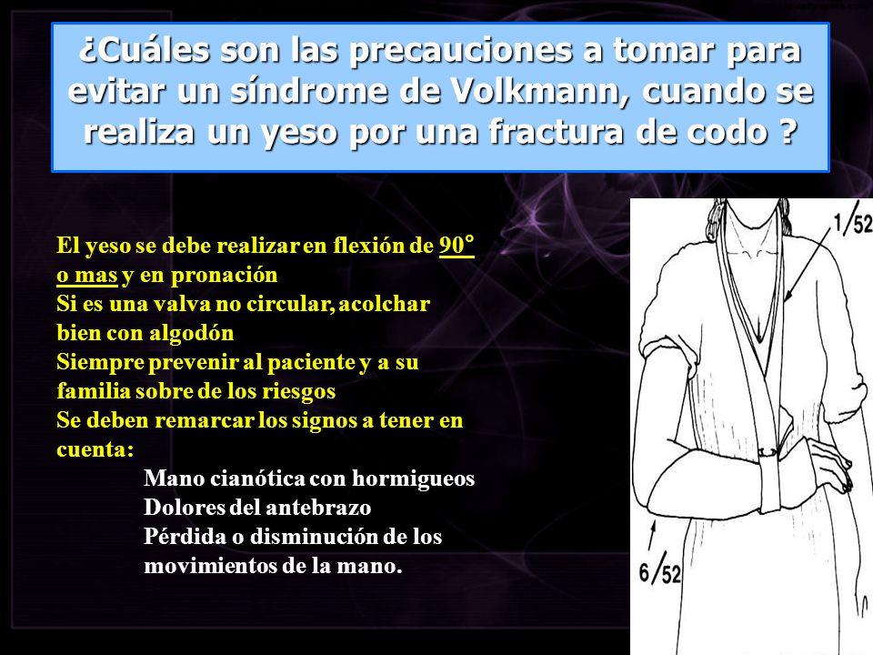 El yeso se debe realizar en flexión de 90° o mas y en pronación Si es una valva no circular, acolchar bien con algodón Siempre prevenir al paciente y