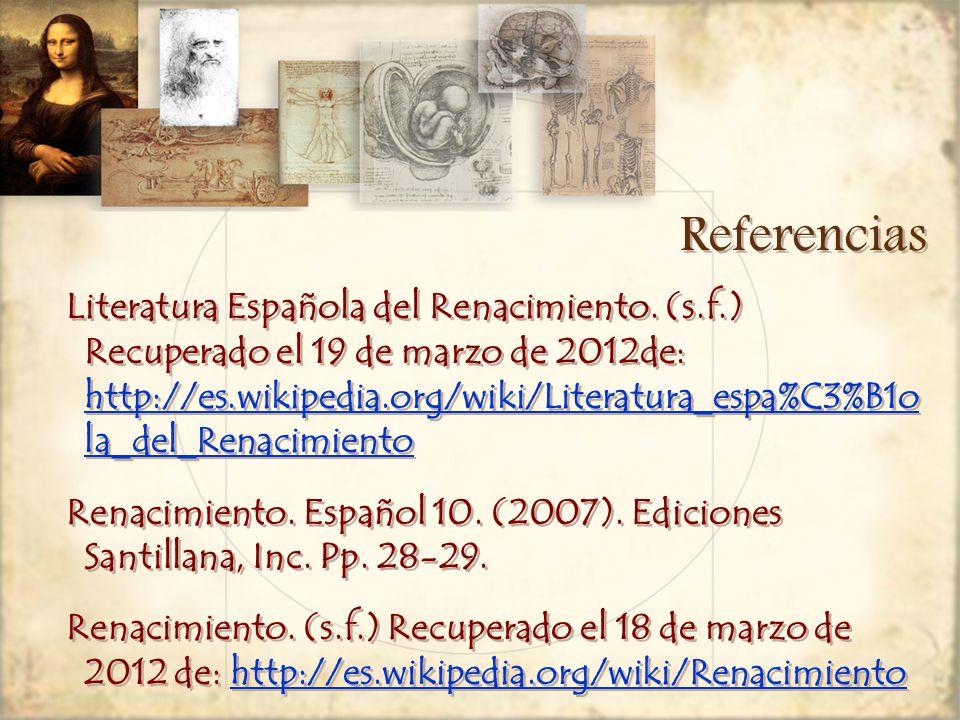 Referencias Literatura Española del Renacimiento.