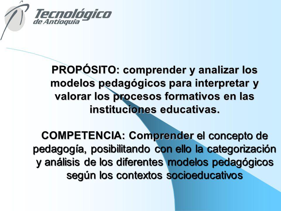 PROPÓSITO: comprender y analizar los modelos pedagógicos para interpretar y valorar los procesos formativos en las instituciones educativas. COMPETENC