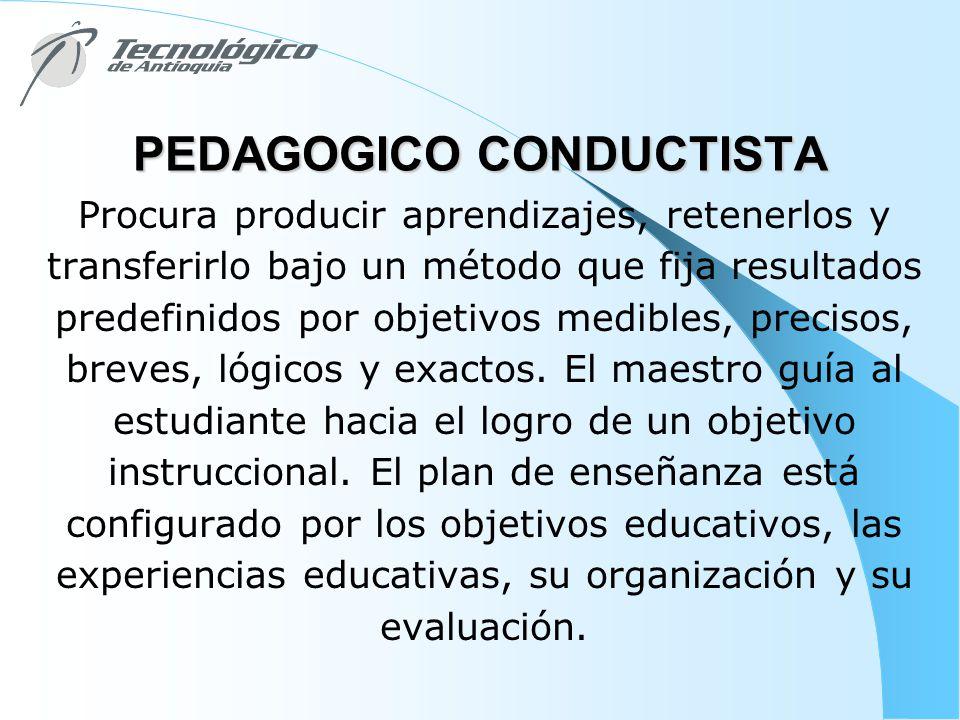 PEDAGOGICO CONDUCTISTA Procura producir aprendizajes, retenerlos y transferirlo bajo un método que fija resultados predefinidos por objetivos medibles