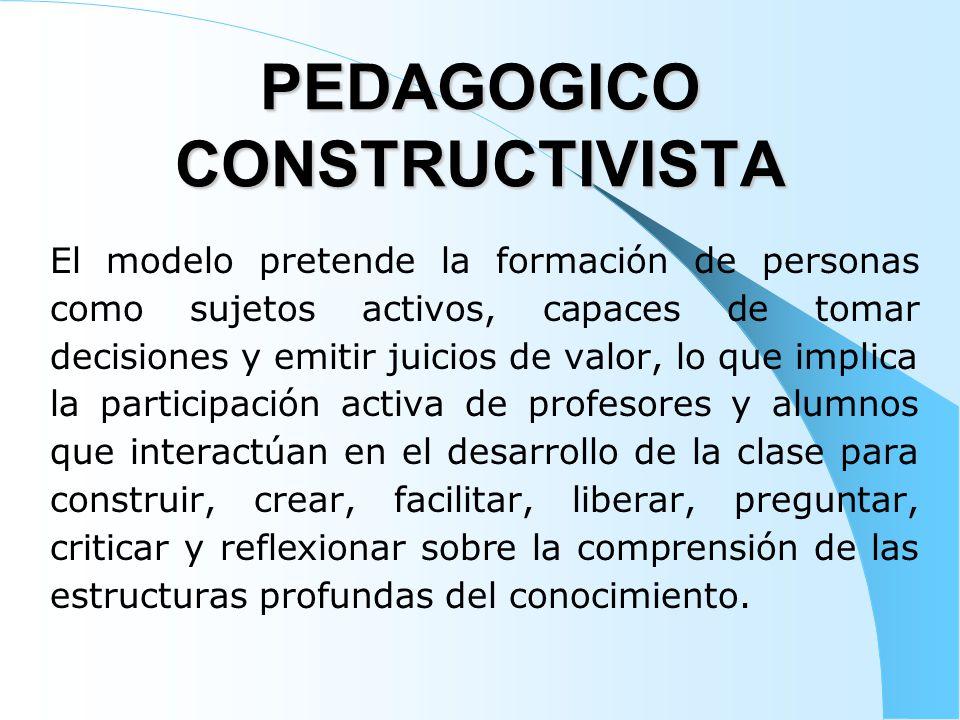 PEDAGOGICO CONSTRUCTIVISTA El modelo pretende la formación de personas como sujetos activos, capaces de tomar decisiones y emitir juicios de valor, lo