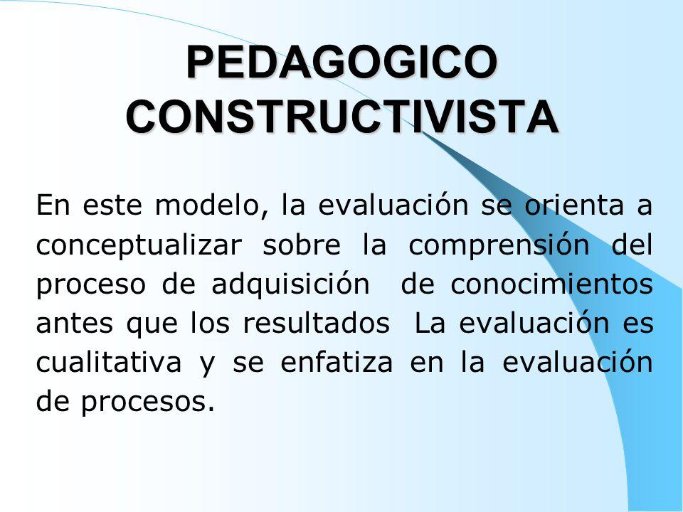 PEDAGOGICO CONSTRUCTIVISTA En este modelo, la evaluación se orienta a conceptualizar sobre la comprensión del proceso de adquisición de conocimientos