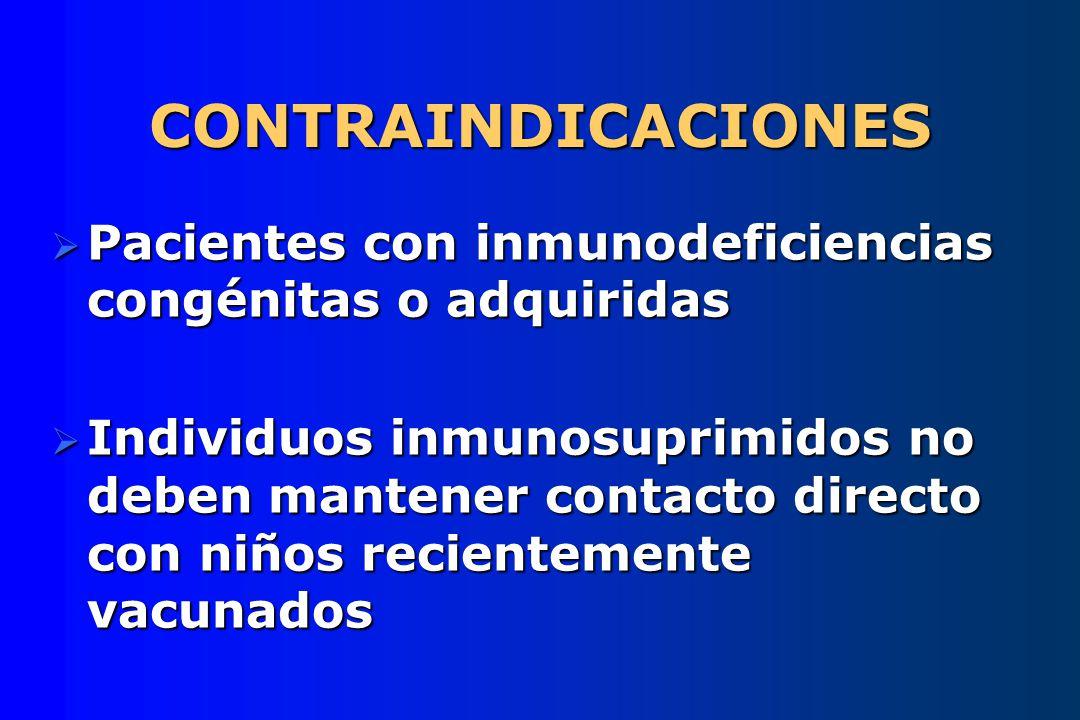 CONTRAINDICACIONES Pacientes con inmunodeficiencias congénitas o adquiridas Pacientes con inmunodeficiencias congénitas o adquiridas Individuos inmuno