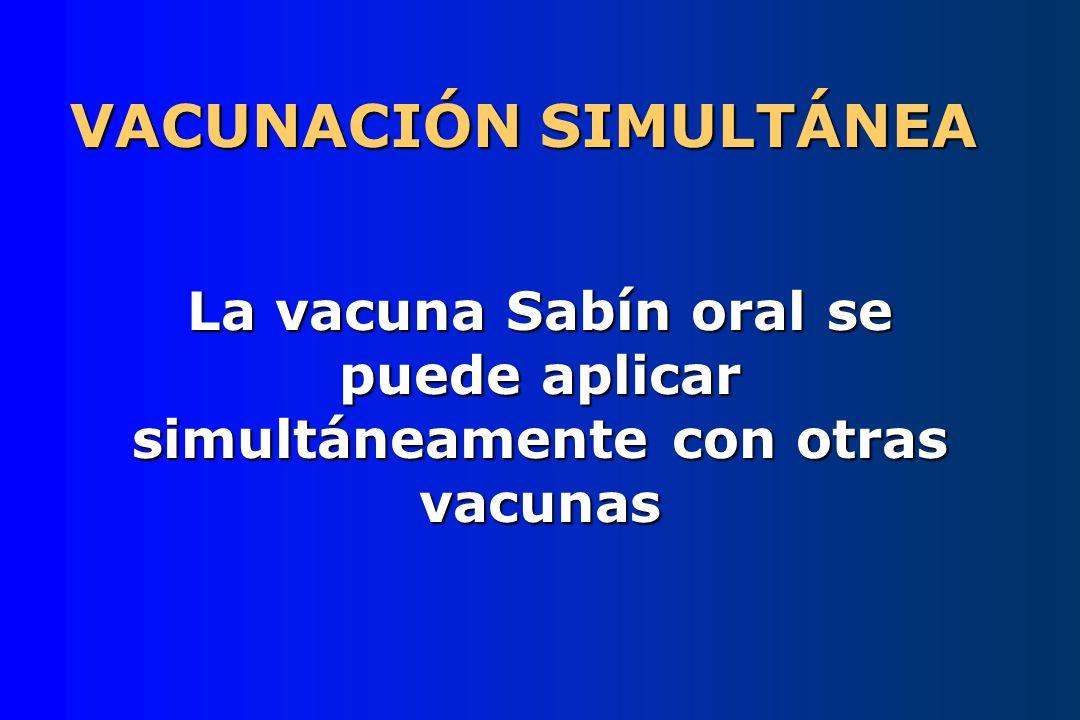 VACUNACIÓN SIMULTÁNEA La vacuna Sabín oral se puede aplicar simultáneamente con otras vacunas