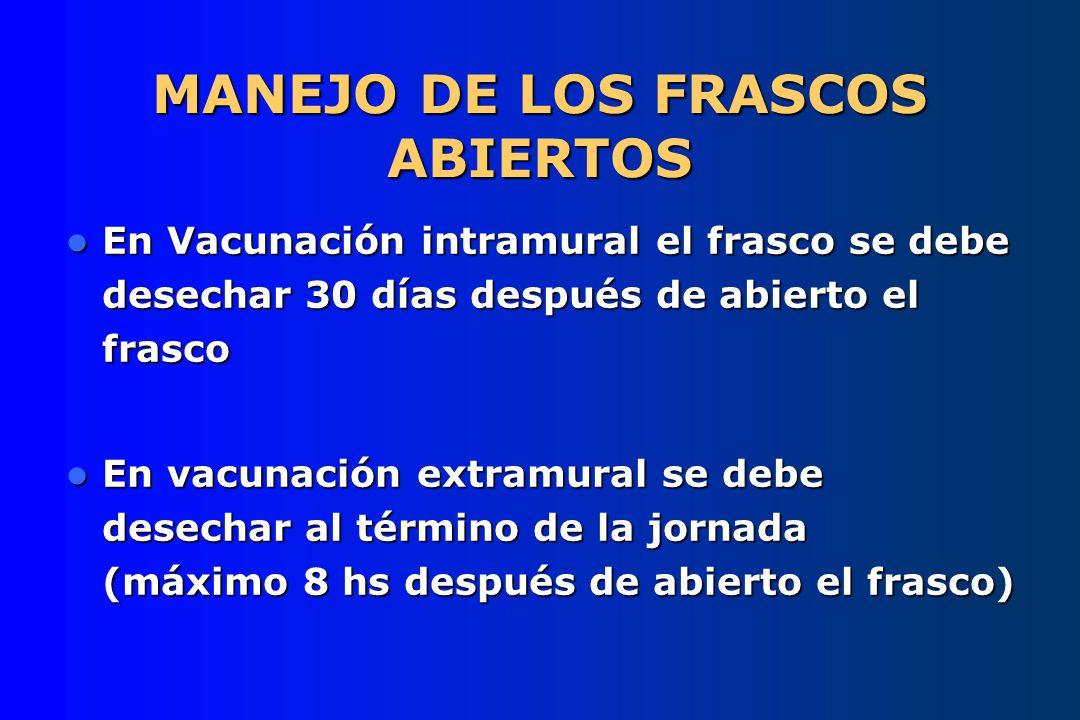 MANEJO DE LOS FRASCOS ABIERTOS En Vacunación intramural el frasco se debe desechar 30 días después de abierto el frasco En Vacunación intramural el fr