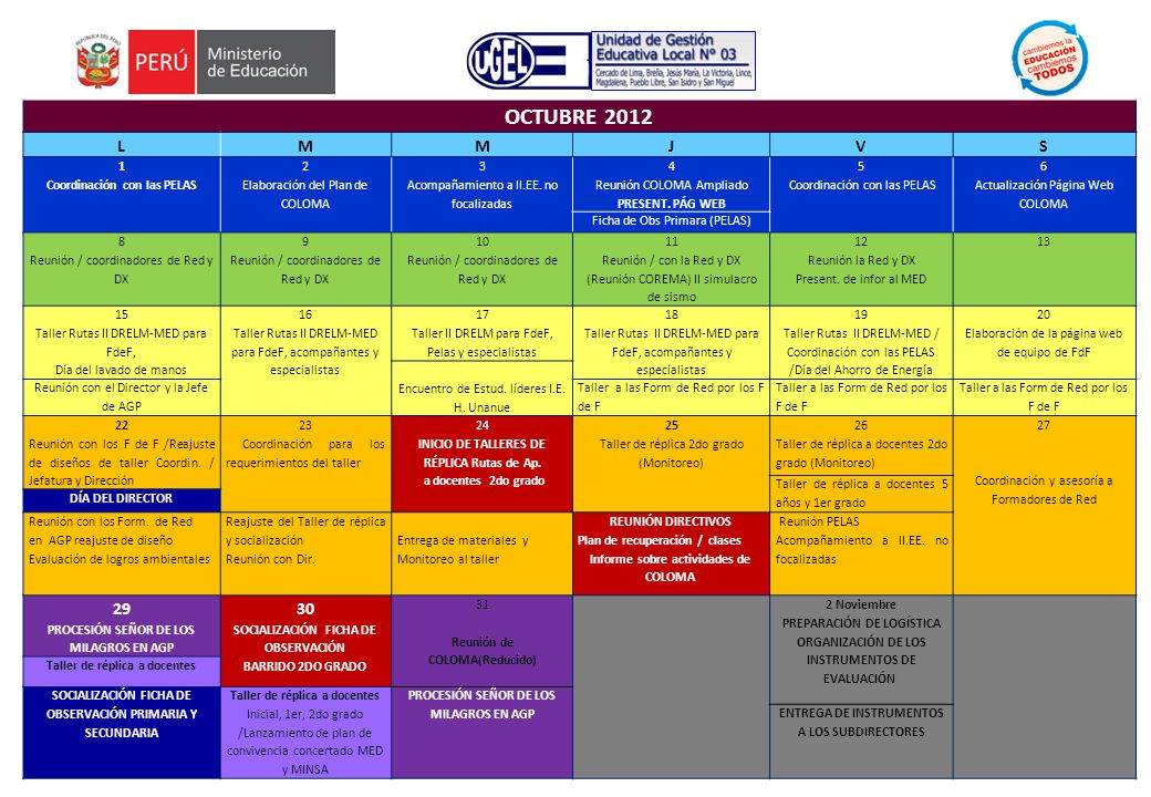 OCTUBRE 2012 LMMJVS 1 Coordinación con las PELAS 2 Elaboración del Plan de COLOMA 3 Acompañamiento a II.EE.