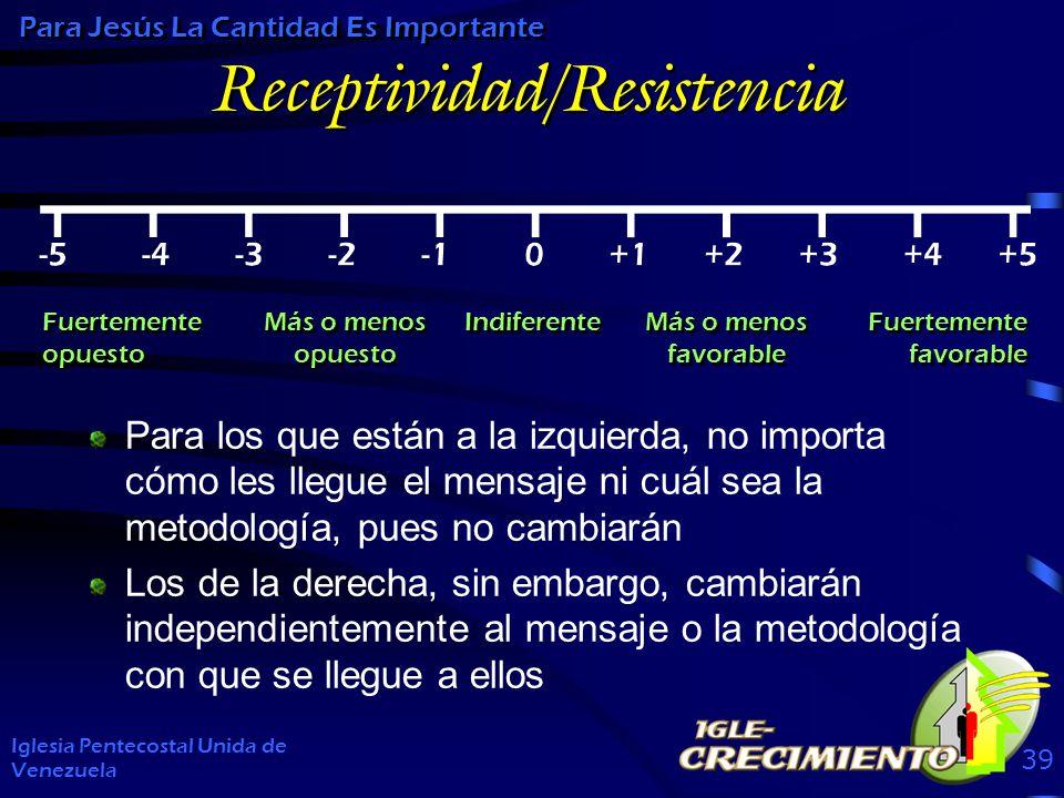 Receptividad/Resistencia Iglesia Pentecostal Unida de Venezuela 39 Para Jesús La Cantidad Es Importante Para los que están a la izquierda, no importa