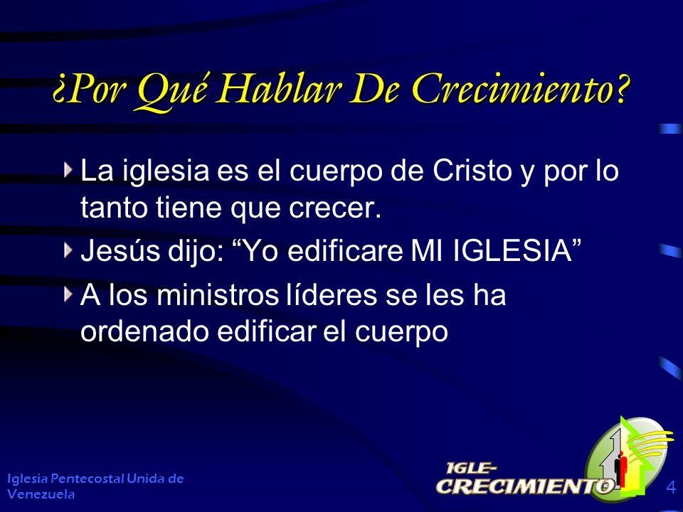 ¿Por Qué Hablar De Crecimiento? La iglesia es el cuerpo de Cristo y por lo tanto tiene que crecer. Jesús dijo: Yo edificare MI IGLESIA A los ministros