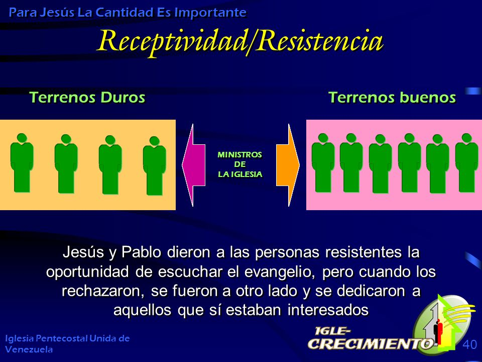 Receptividad/Resistencia Iglesia Pentecostal Unida de Venezuela 40 Para Jesús La Cantidad Es Importante Jesús y Pablo dieron a las personas resistentes la oportunidad de escuchar el evangelio, pero cuando los rechazaron, se fueron a otro lado y se dedicaron a aquellos que sí estaban interesados MINISTROS DE LA IGLESIA MINISTROS DE LA IGLESIA Terrenos Duros Terrenos buenos