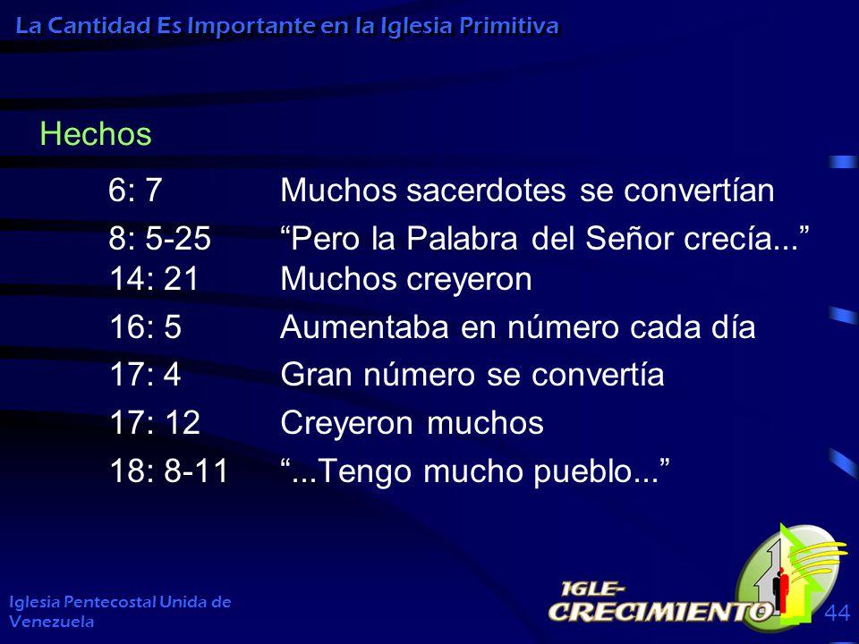 6: 7Muchos sacerdotes se convertían 8: 5-25Pero la Palabra del Señor crecía... 14: 21Muchos creyeron 16: 5Aumentaba en número cada día 17: 4Gran númer