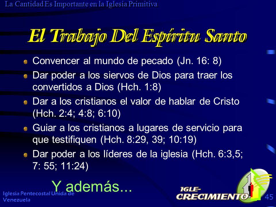El Trabajo Del Espíritu Santo Convencer al mundo de pecado (Jn. 16: 8) Dar poder a los siervos de Dios para traer los convertidos a Dios (Hch. 1:8) Da