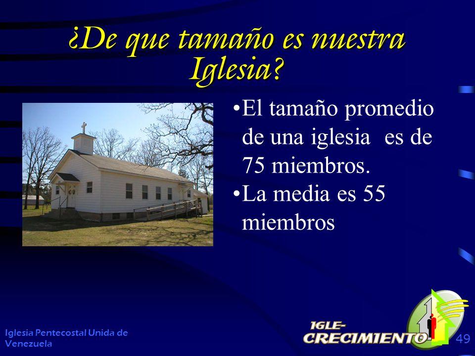 ¿De que tamaño es nuestra Iglesia? Iglesia Pentecostal Unida de Venezuela 49 El tamaño promedio de una iglesia es de 75 miembros. La media es 55 miemb