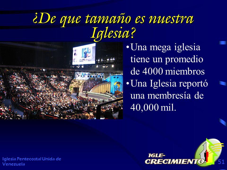 ¿De que tamaño es nuestra Iglesia? Iglesia Pentecostal Unida de Venezuela 51 Una mega iglesia tiene un promedio de 4000 miembros Una Iglesia reportó u