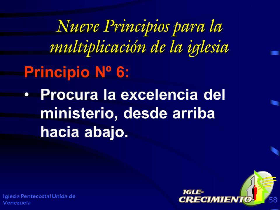 Nueve Principios para la multiplicación de la iglesia Principio Nº 6: Procura la excelencia del ministerio, desde arriba hacia abajo. Iglesia Pentecos