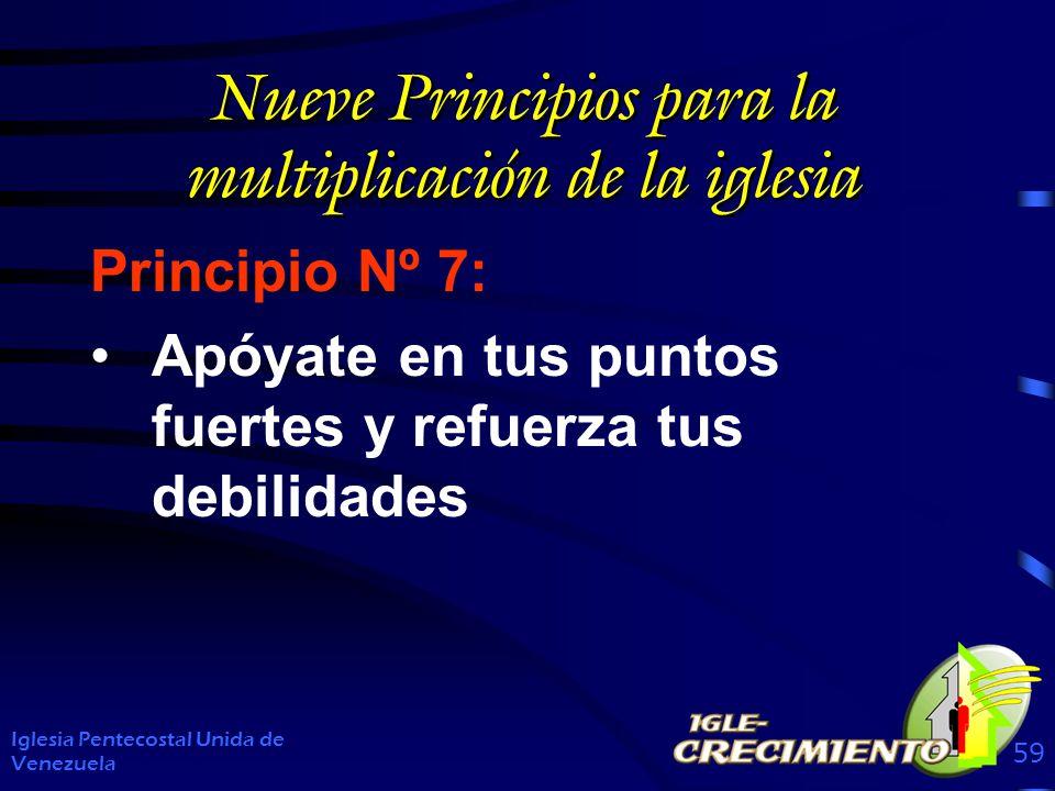 Nueve Principios para la multiplicación de la iglesia Principio Nº 7: Apóyate en tus puntos fuertes y refuerza tus debilidades Iglesia Pentecostal Unida de Venezuela 59