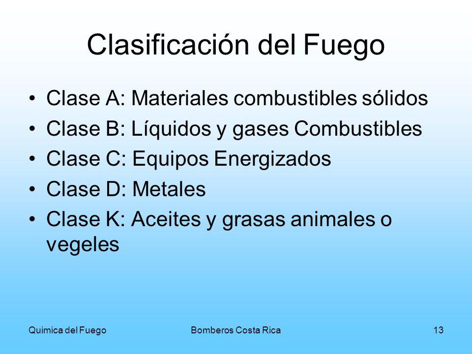 Quimica del FuegoBomberos Costa Rica13 Clasificación del Fuego Clase A: Materiales combustibles sólidos Clase B: Líquidos y gases Combustibles Clase C