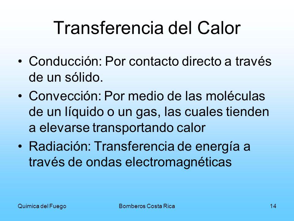 Quimica del FuegoBomberos Costa Rica14 Transferencia del Calor Conducción: Por contacto directo a través de un sólido. Convección: Por medio de las mo