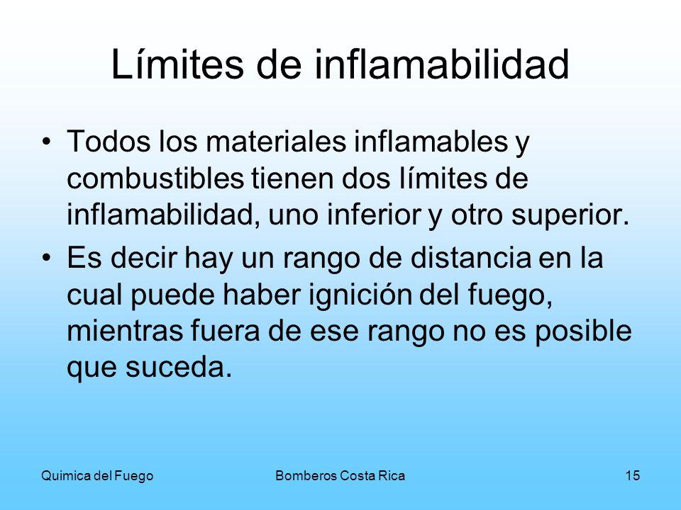 Quimica del FuegoBomberos Costa Rica15 Límites de inflamabilidad Todos los materiales inflamables y combustibles tienen dos límites de inflamabilidad,