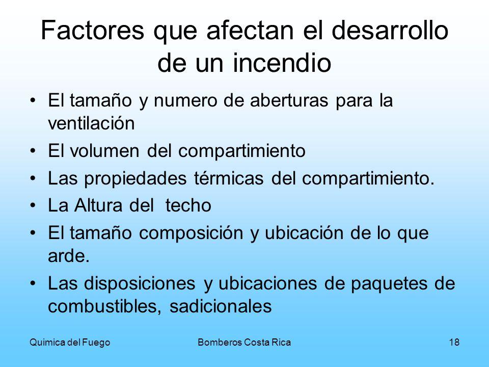 Quimica del FuegoBomberos Costa Rica18 Factores que afectan el desarrollo de un incendio El tamaño y numero de aberturas para la ventilación El volume