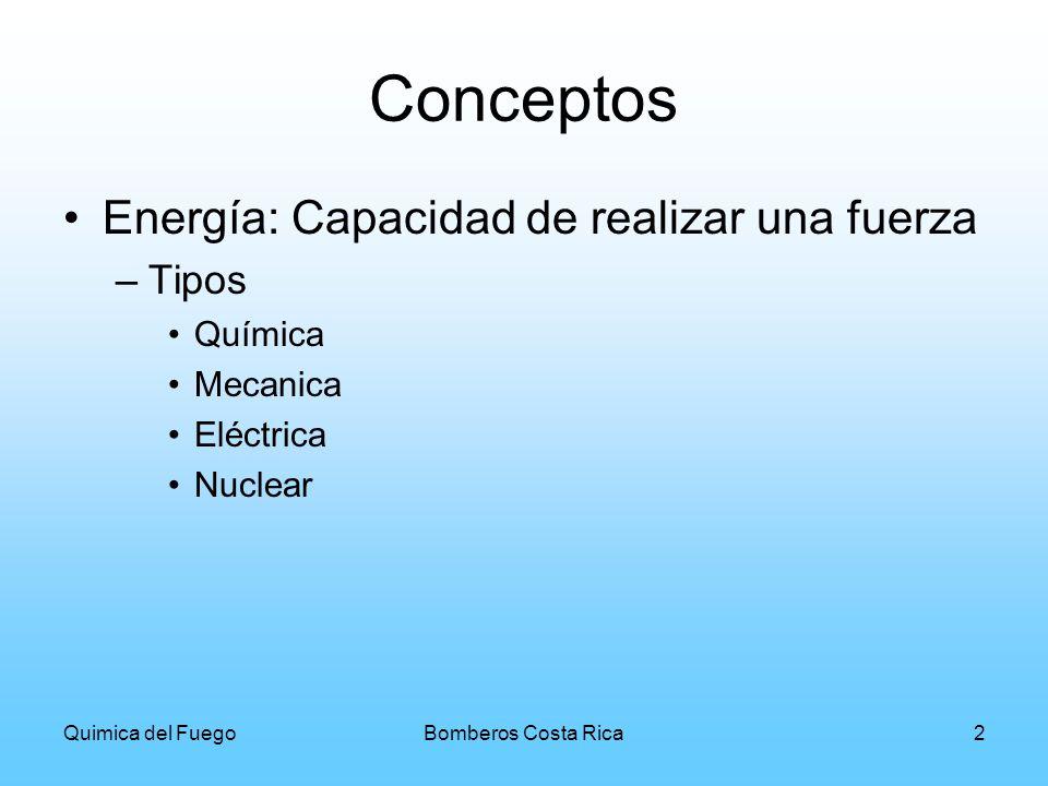 Quimica del FuegoBomberos Costa Rica3 Estados de la Energía Cinética: La energía adquirida por el movimiento de un cuerpo Potencial: La adquirida por la posición de un cuerpo