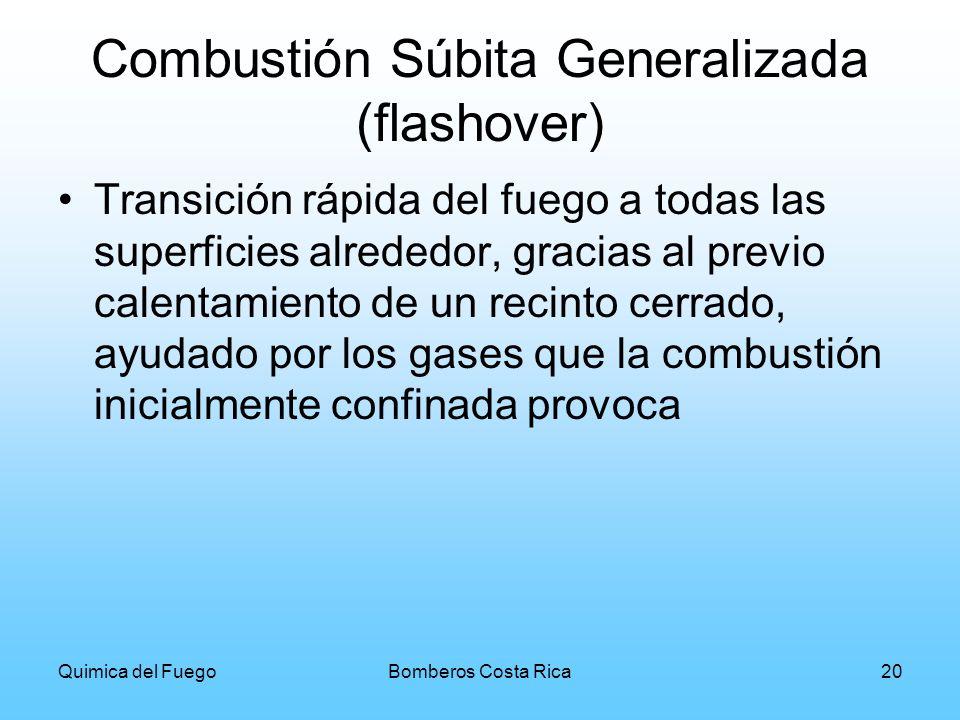 Quimica del FuegoBomberos Costa Rica20 Combustión Súbita Generalizada (flashover) Transición rápida del fuego a todas las superficies alrededor, graci