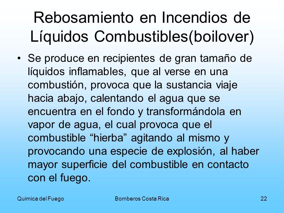 Quimica del FuegoBomberos Costa Rica22 Rebosamiento en Incendios de Líquidos Combustibles(boilover) Se produce en recipientes de gran tamaño de líquid