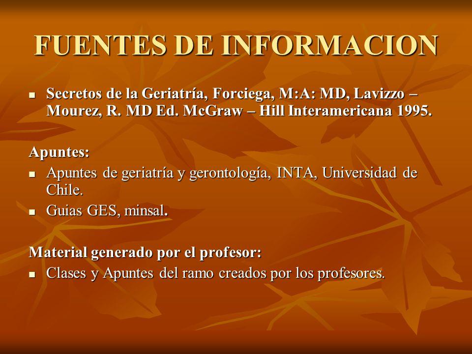 FUENTES DE INFORMACION Secretos de la Geriatría, Forciega, M:A: MD, Lavizzo – Mourez, R. MD Ed. McGraw – Hill Interamericana 1995. Secretos de la Geri
