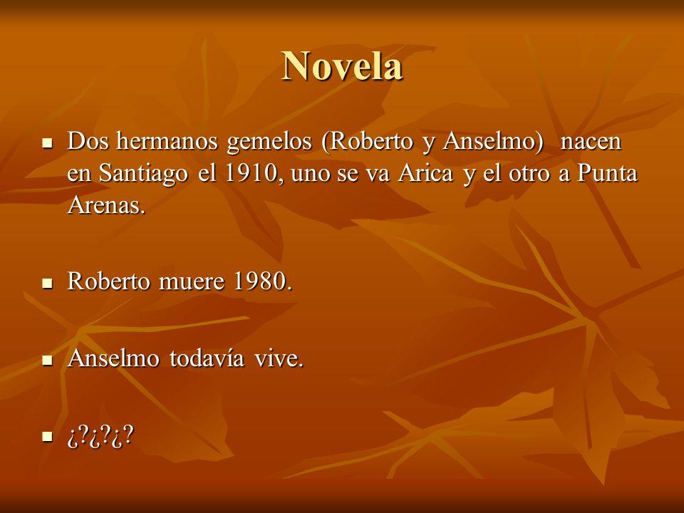 Novela Dos hermanos gemelos (Roberto y Anselmo) nacen en Santiago el 1910, uno se va Arica y el otro a Punta Arenas. Dos hermanos gemelos (Roberto y A