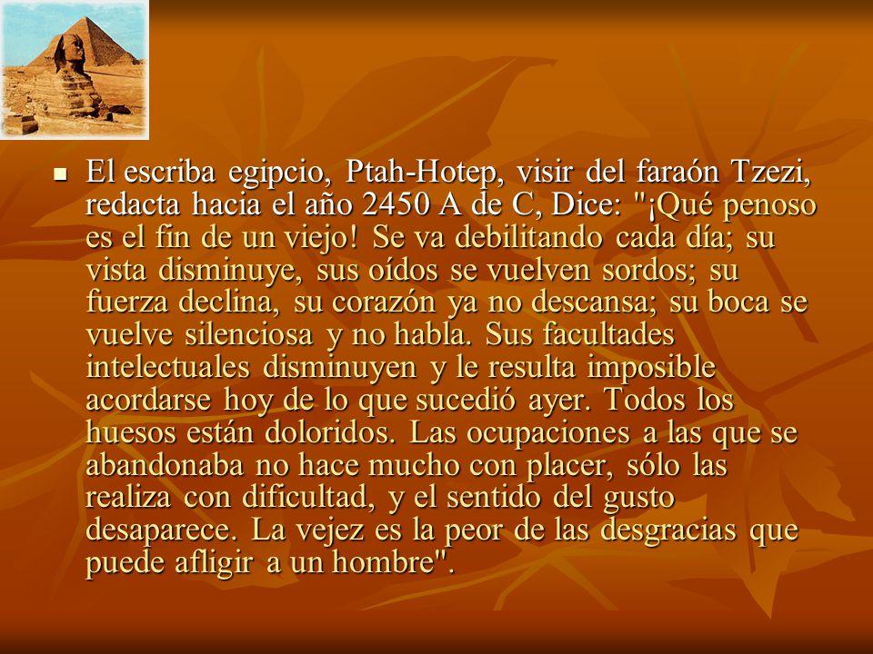 El escriba egipcio, Ptah-Hotep, visir del faraón Tzezi, redacta hacia el año 2450 A de C, Dice: