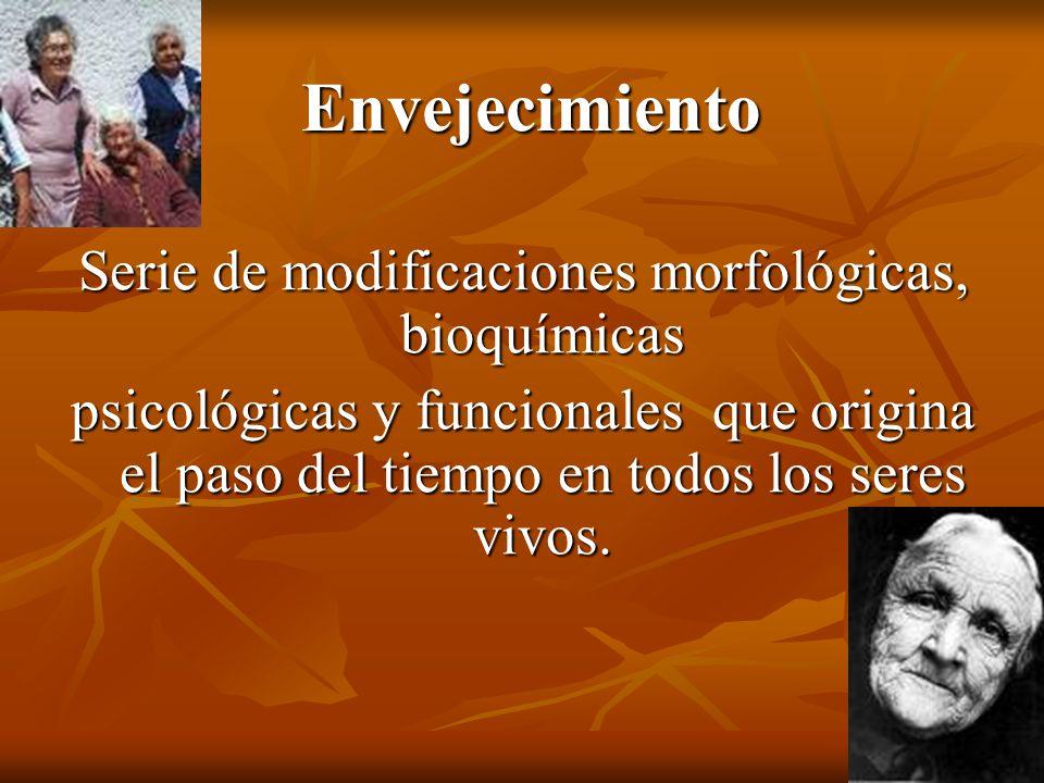Envejecimiento Serie de modificaciones morfológicas, bioquímicas psicológicas y funcionales que origina el paso del tiempo en todos los seres vivos.