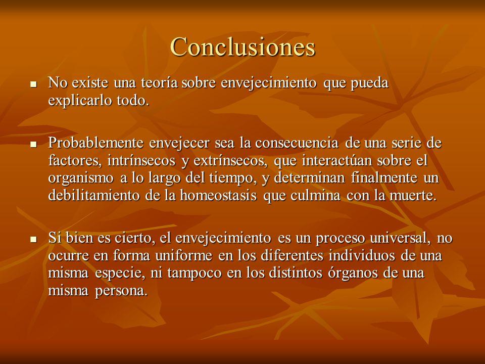 Conclusiones No existe una teoría sobre envejecimiento que pueda explicarlo todo. No existe una teoría sobre envejecimiento que pueda explicarlo todo.