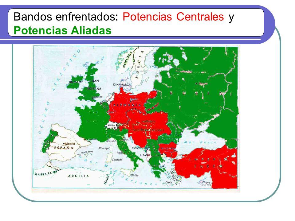 Bandos enfrentados: Potencias Centrales y Potencias Aliadas