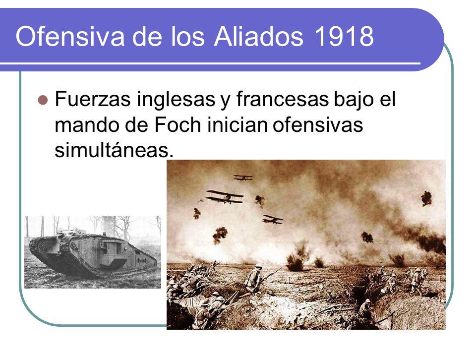 Ofensiva de los Aliados 1918 Fuerzas inglesas y francesas bajo el mando de Foch inician ofensivas simultáneas.