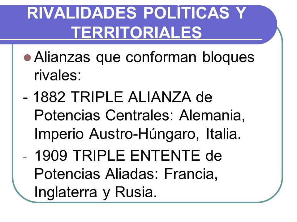 RIVALIDADES POLÍTICAS Y TERRITORIALES Alianzas que conforman bloques rivales: - 1882 TRIPLE ALIANZA de Potencias Centrales: Alemania, Imperio Austro-H