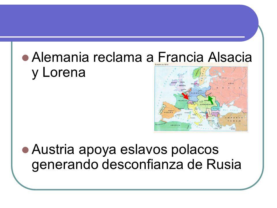 Alemania reclama a Francia Alsacia y Lorena Austria apoya eslavos polacos generando desconfianza de Rusia