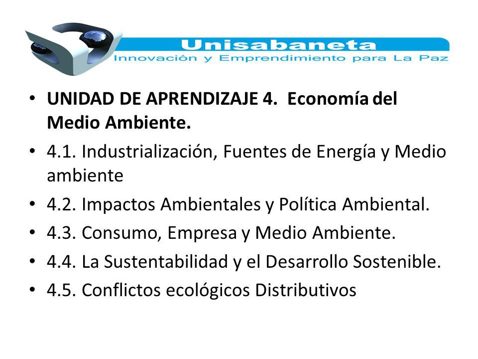 UNIDAD DE APRENDIZAJE 4. Economía del Medio Ambiente. 4.1. Industrialización, Fuentes de Energía y Medio ambiente 4.2. Impactos Ambientales y Política