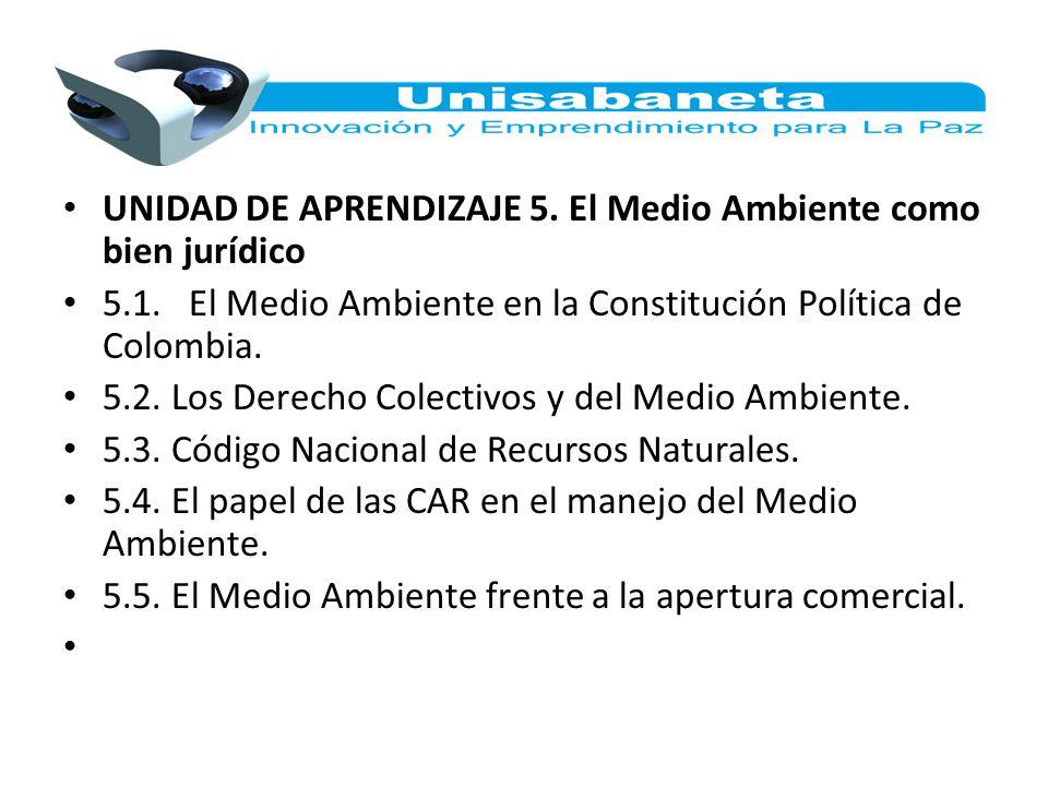 UNIDAD DE APRENDIZAJE 5. El Medio Ambiente como bien jurídico 5.1. El Medio Ambiente en la Constitución Política de Colombia. 5.2. Los Derecho Colecti