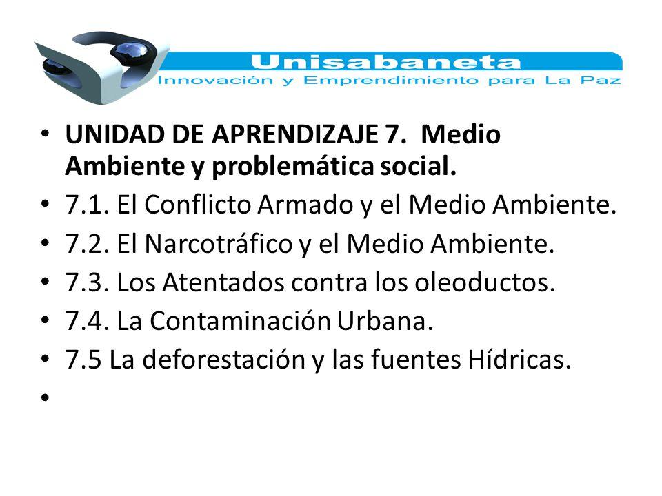 UNIDAD DE APRENDIZAJE 7. Medio Ambiente y problemática social. 7.1. El Conflicto Armado y el Medio Ambiente. 7.2. El Narcotráfico y el Medio Ambiente.