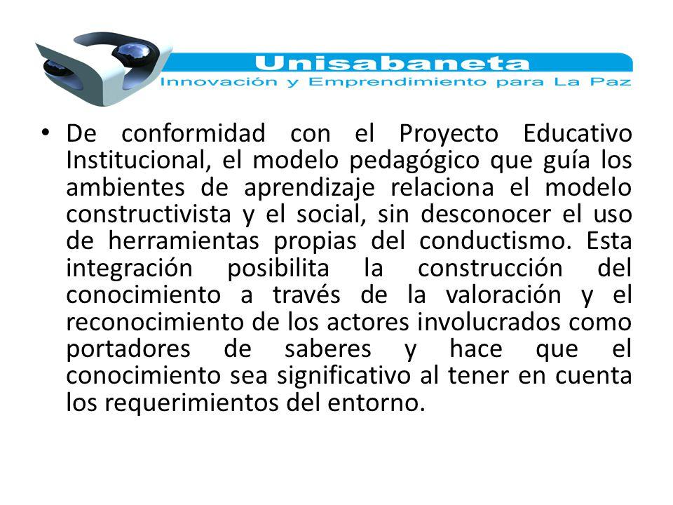 De conformidad con el Proyecto Educativo Institucional, el modelo pedagógico que guía los ambientes de aprendizaje relaciona el modelo constructivista